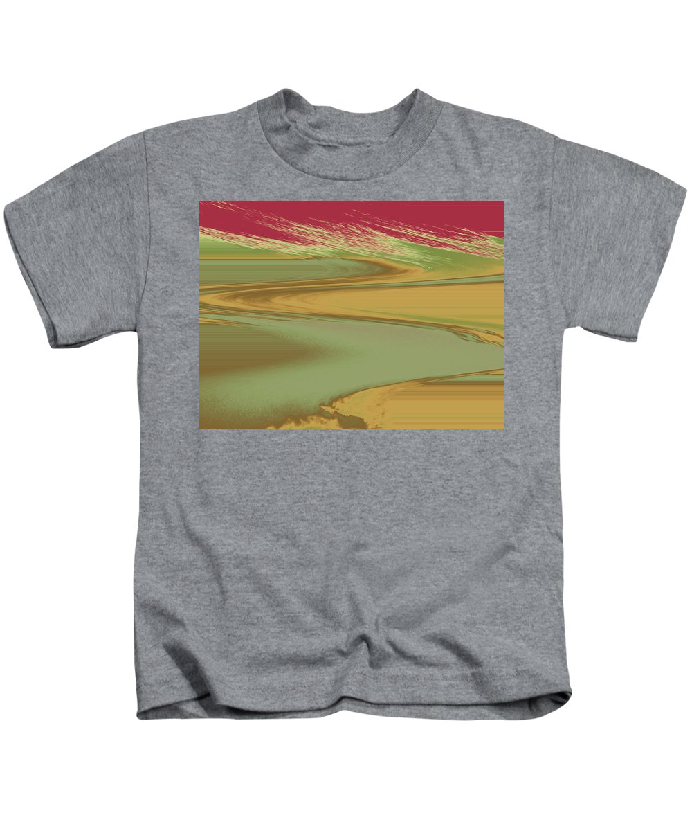 Abstract Kids T-Shirt featuring the digital art Red Sky Landscape by Lenore Senior
