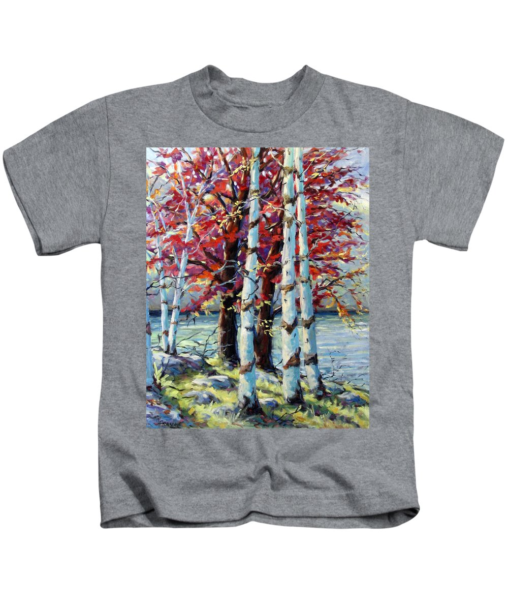 Birches Kids T-Shirt featuring the painting Red Splash by Richard T Pranke