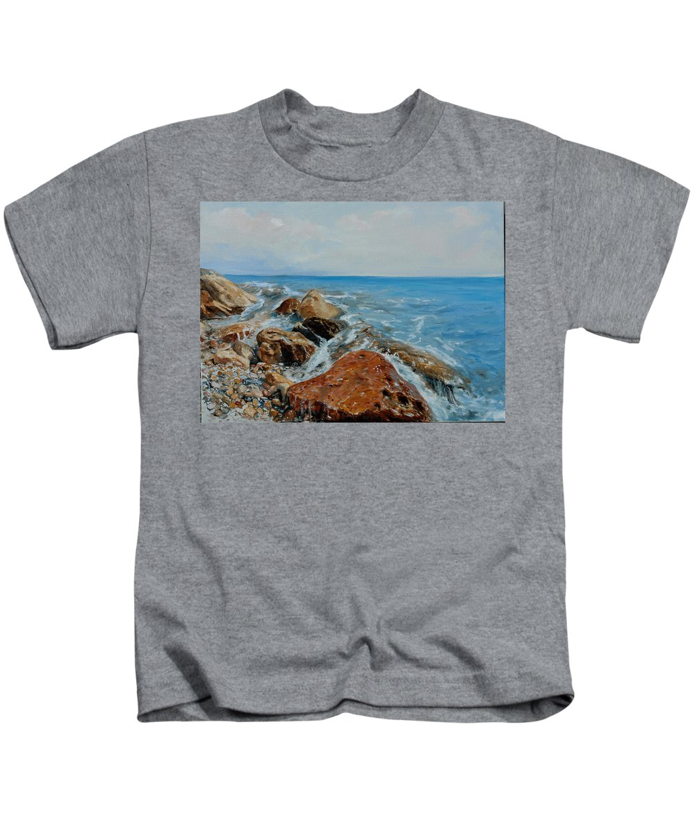Seascape Kids T-Shirt featuring the painting Red Stone by Sefedin Stafa