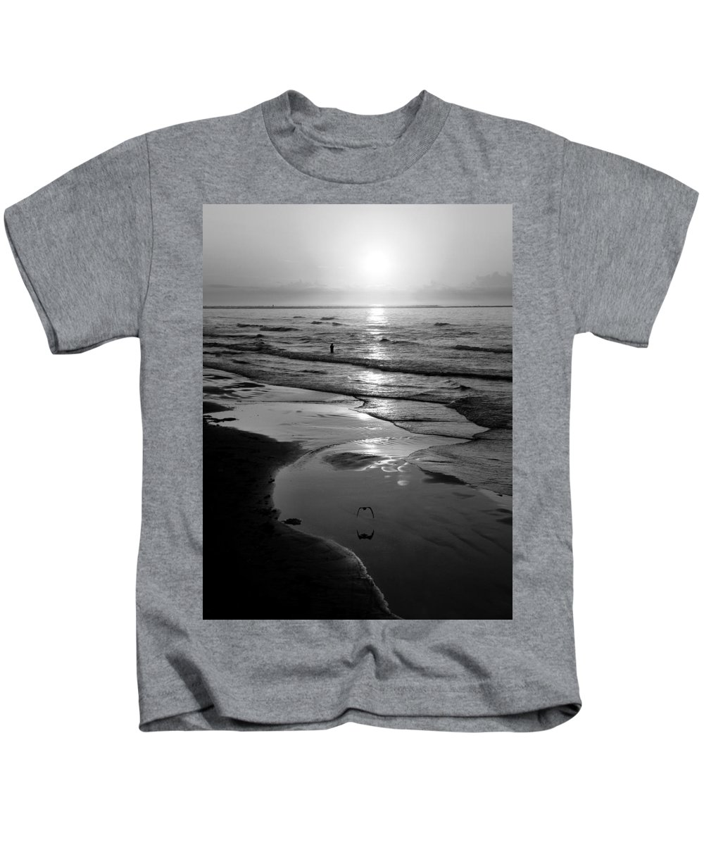 Morning Kids T-Shirt featuring the photograph Reflection Of Bird In Flight by Marilyn Hunt