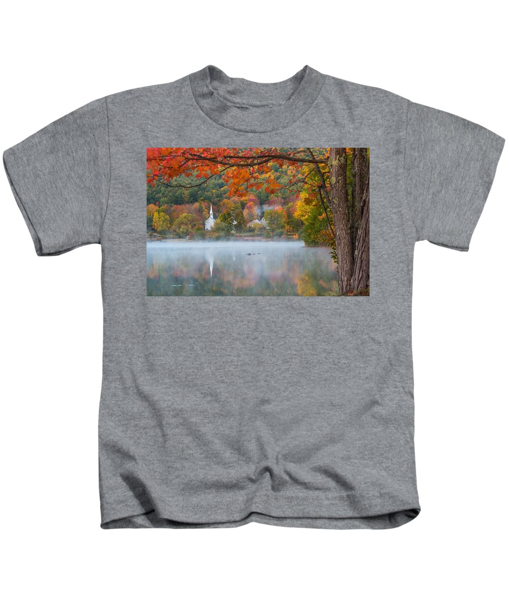 #chuch #reflection #foliage #new Hampshire Kids T-Shirt featuring the photograph Reflection Of Fall by Terry Chen