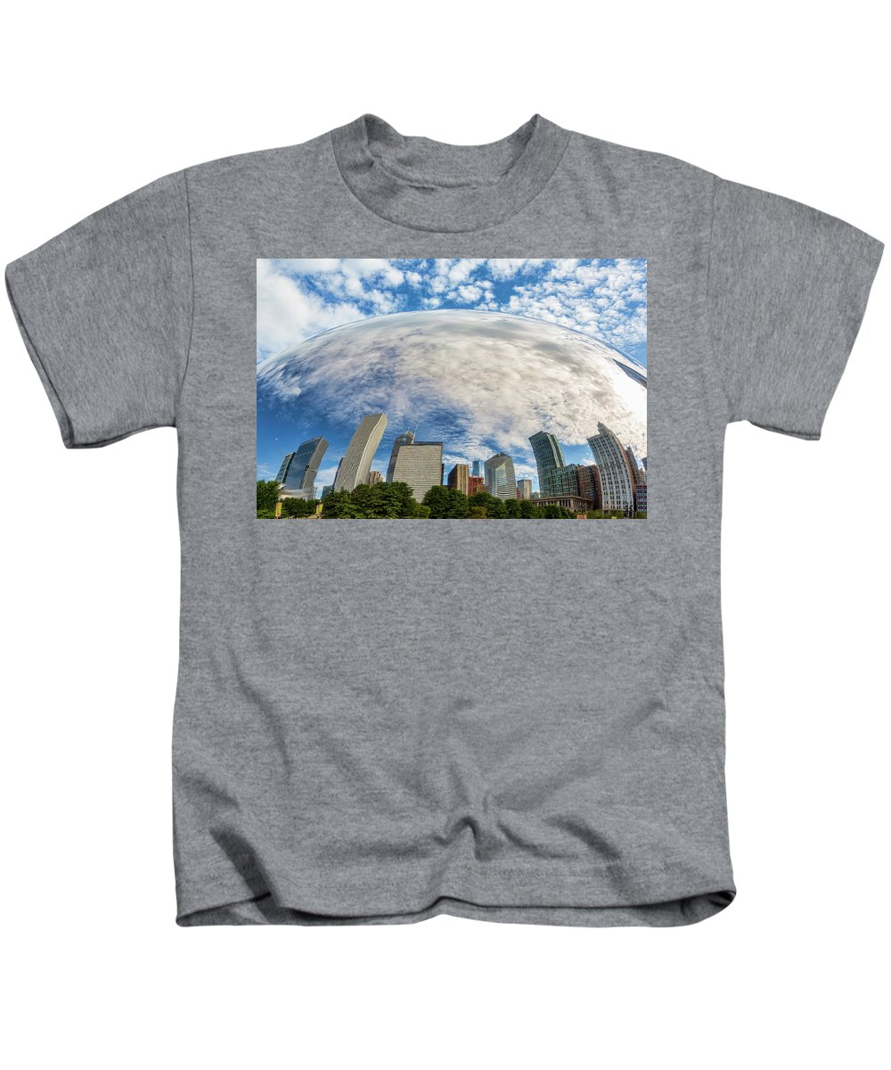 Reflection Kids T-Shirt featuring the photograph Reflection On The Bean by Kelley King