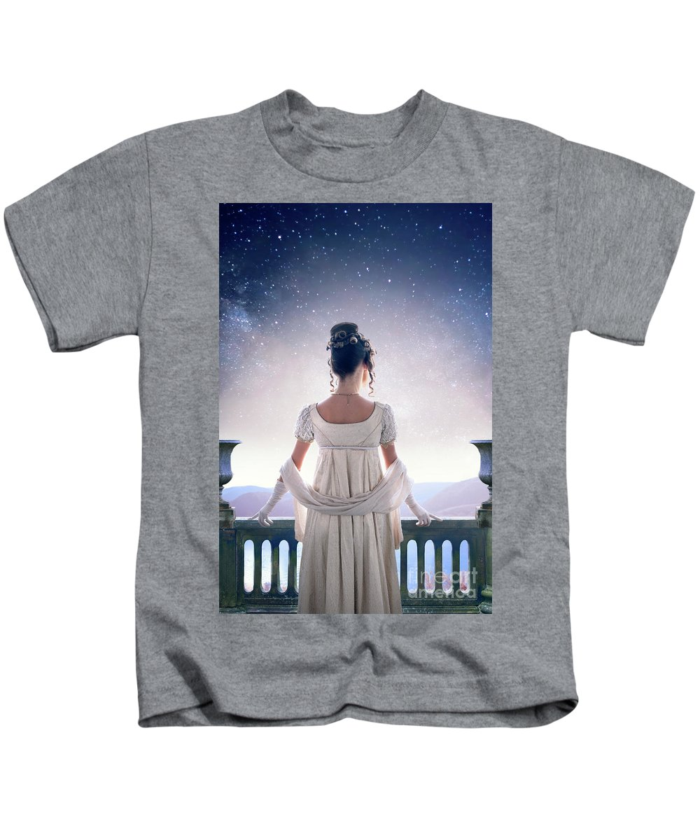 Regency Kids T-Shirt featuring the photograph Regency Woman Looking At The Stars In The Night Sky by Lee Avison