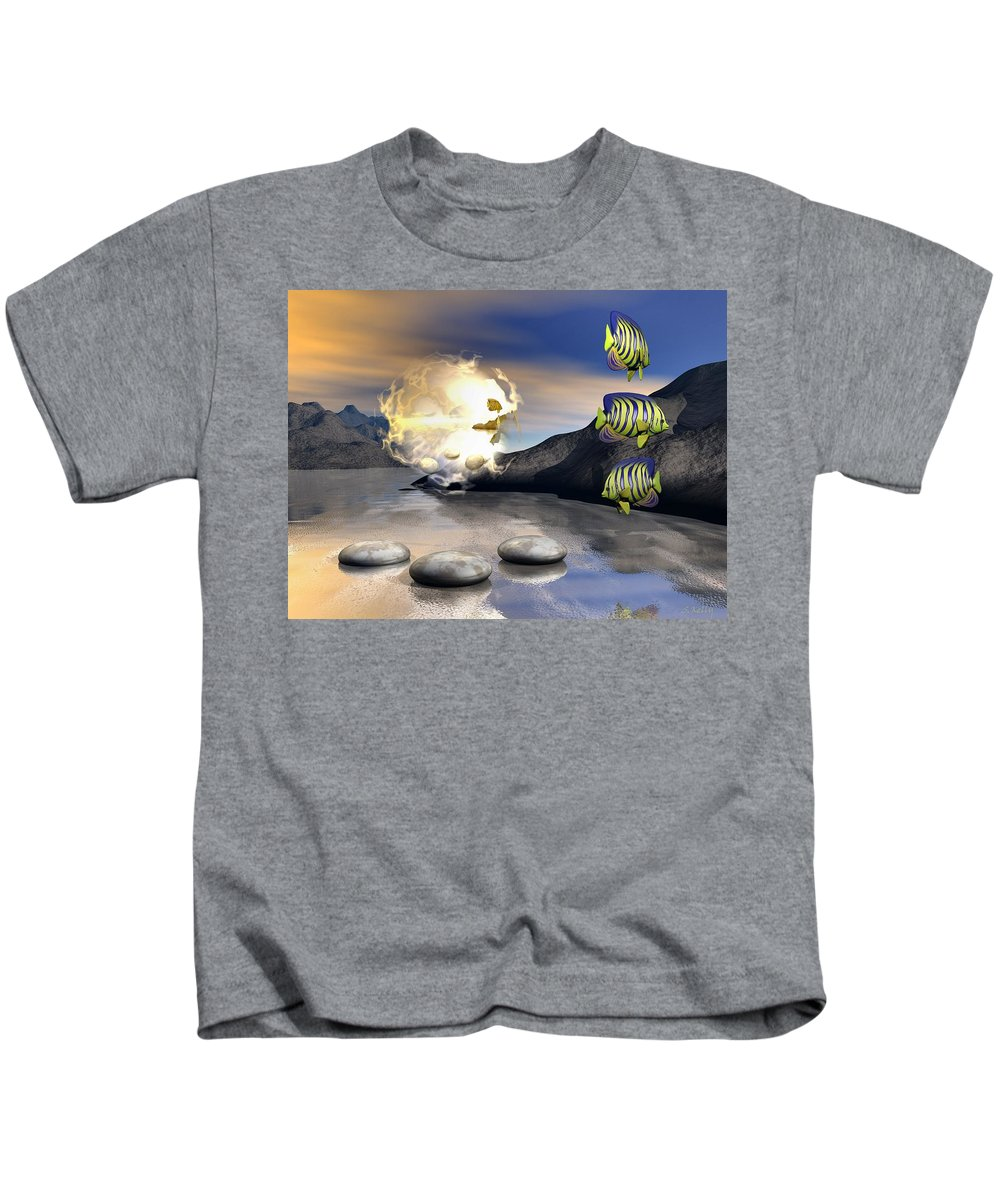 Landscape Kids T-Shirt featuring the digital art Reminders Of Peace by Steve Kelly