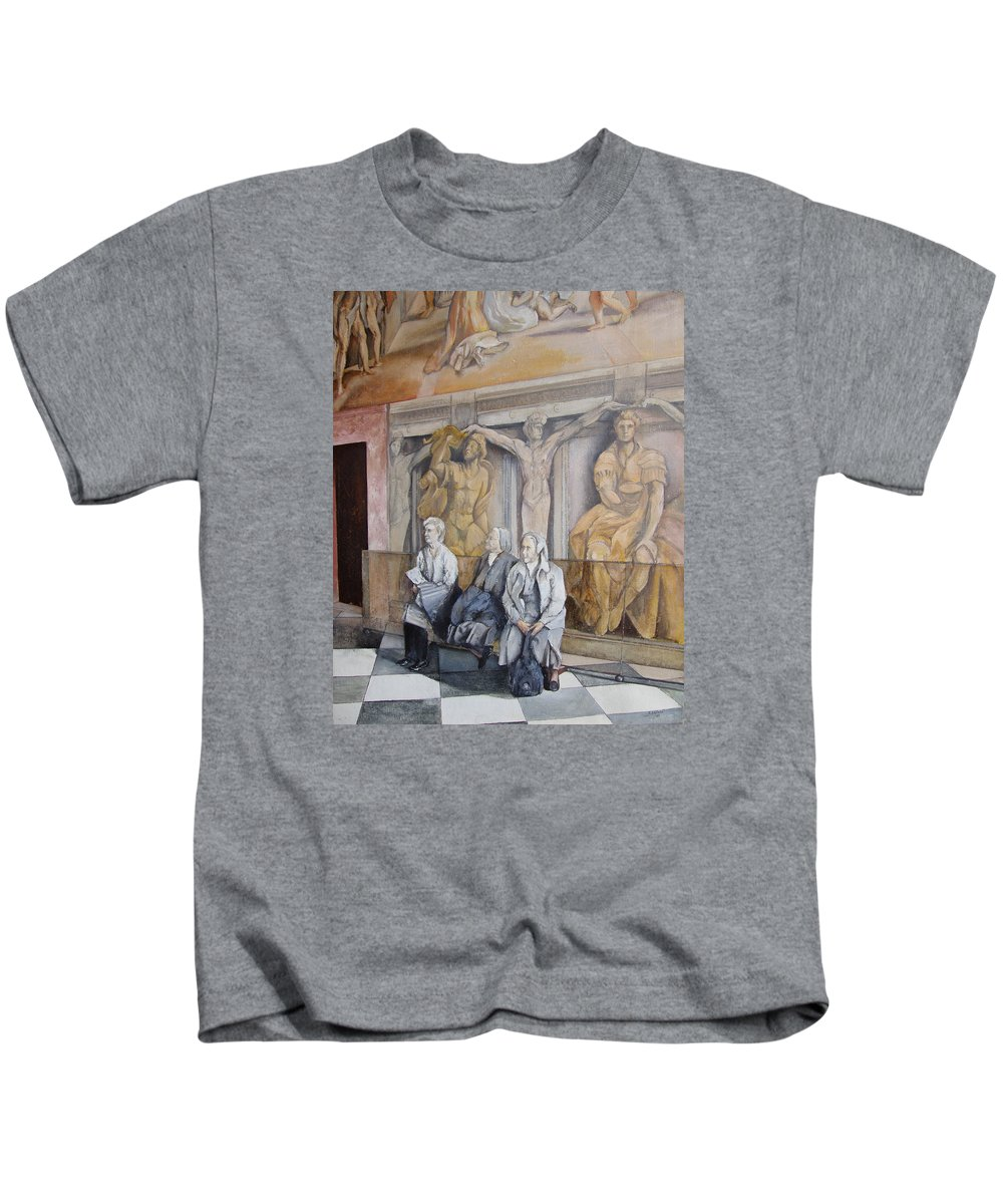 Vaticano Kids T-Shirt featuring the painting Reposo En El Vaticano by Tomas Castano
