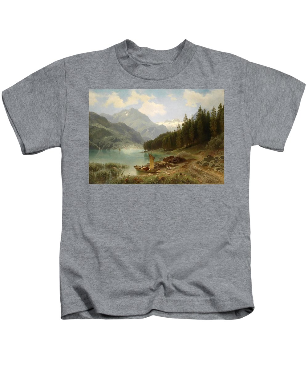 August Friedrich Kessler Kids T-Shirt featuring the painting Resting By The Mountain Lake by August Friedrich Kessler