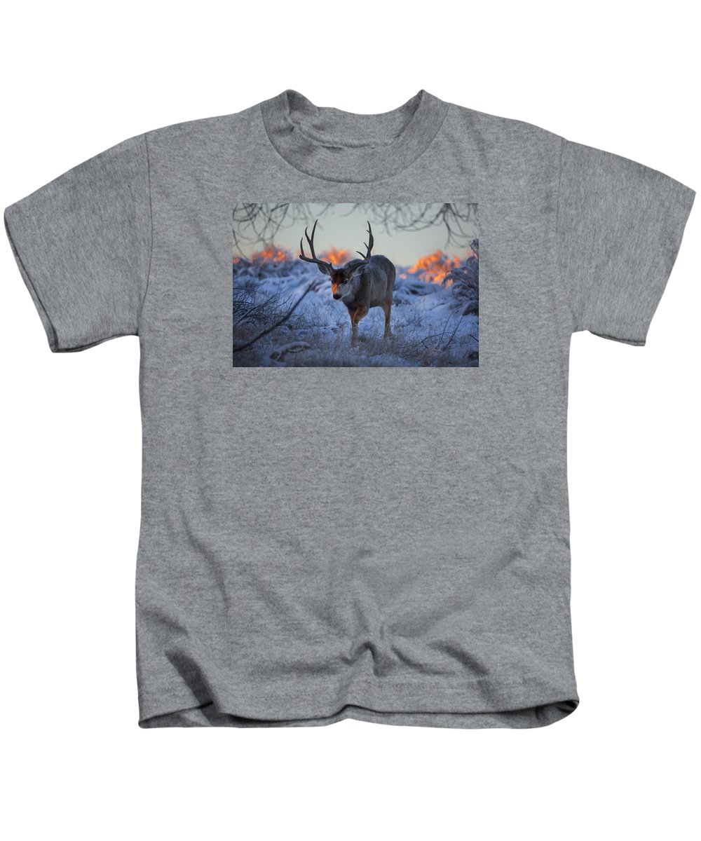 Wildlife Kids T-Shirt featuring the photograph Retreat From The Sunrise by Jeff Shumaker