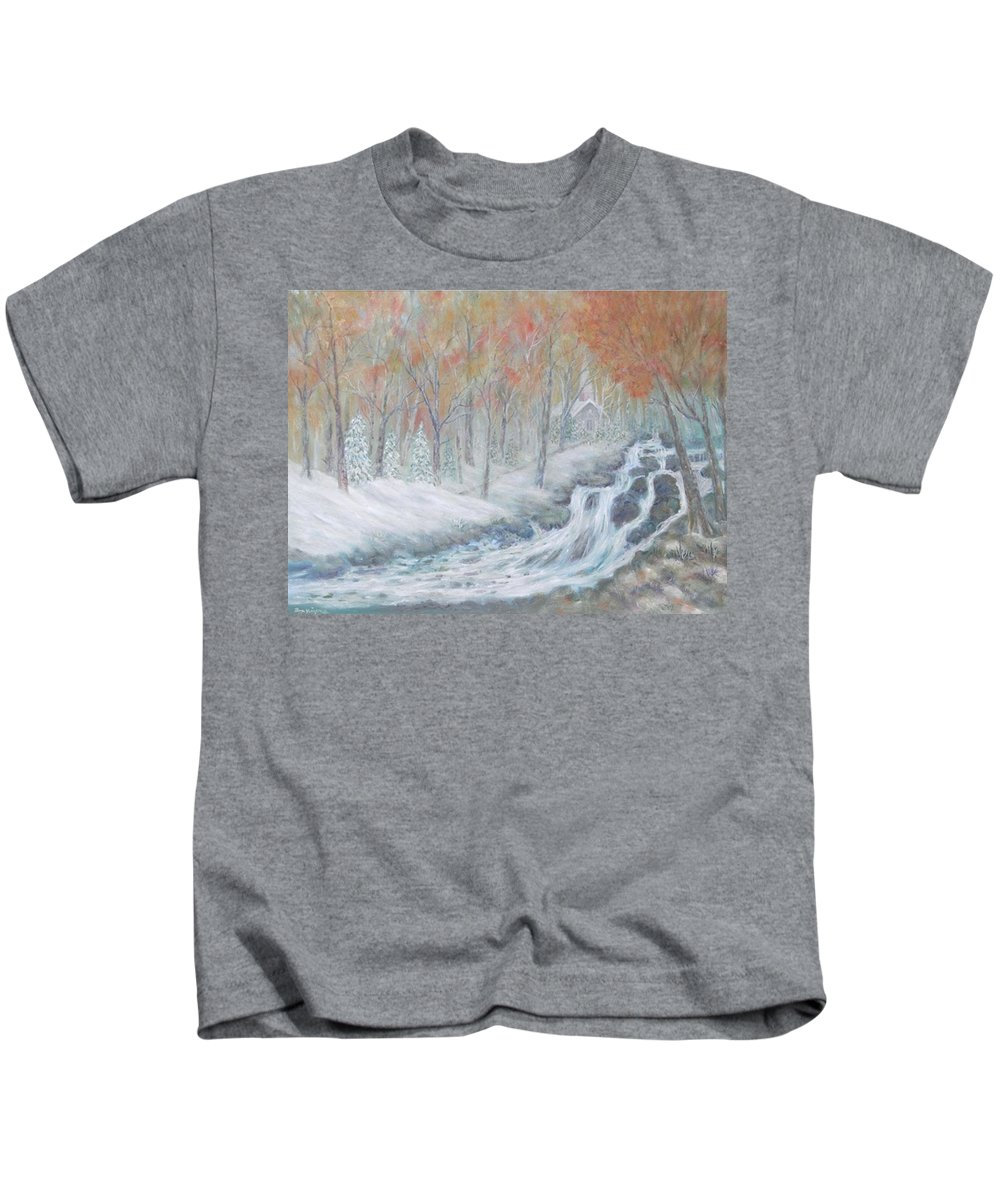 Snow; Landscape; Church Kids T-Shirt featuring the painting Reverence by Ben Kiger