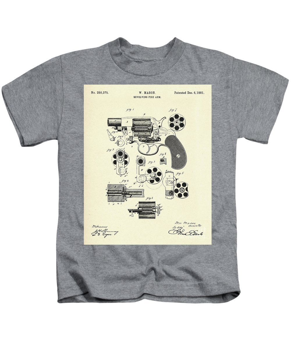 Collectibles Kids T-Shirt featuring the painting Revolving Fire Arm-1881 by Pablo Romero