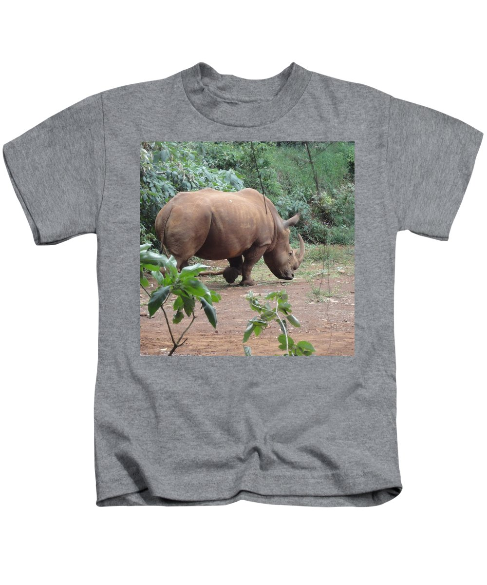 Rhino Kids T-Shirt featuring the photograph Rhino by Serah Mbii