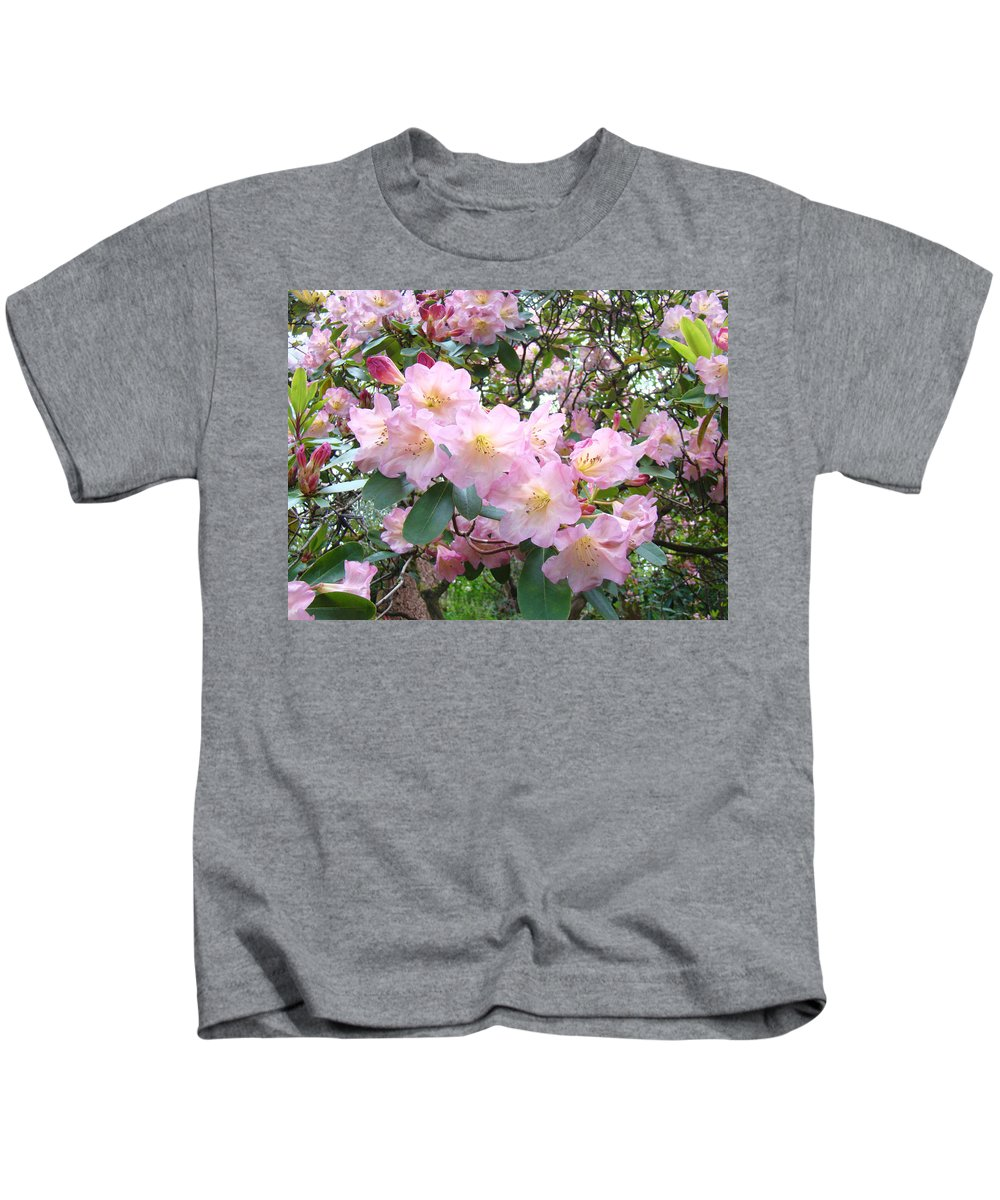 Nature Kids T-Shirt featuring the photograph Rhododendron Flowers Garden Art Prints Floral Baslee Troutman by Baslee Troutman