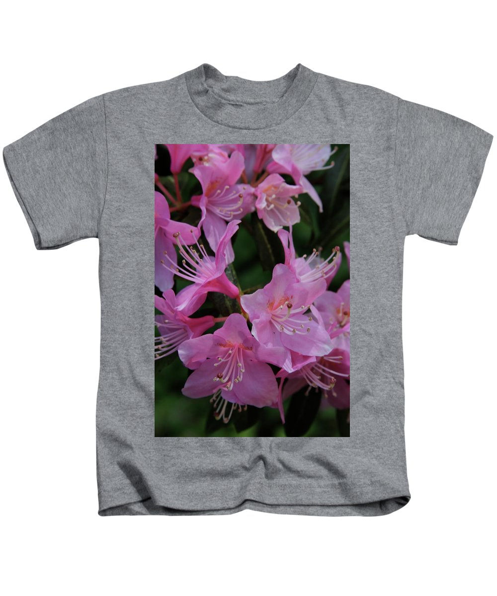 Rhododendron Kids T-Shirt featuring the photograph Rhododendron In The Pink by Laddie Halupa