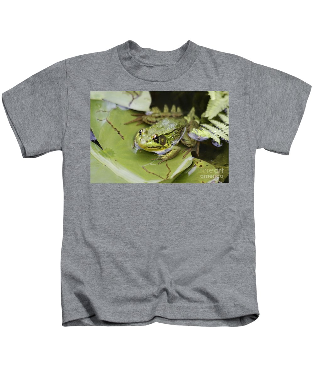 Frog Kids T-Shirt featuring the photograph Ribbet In The Pond by Deborah Benoit