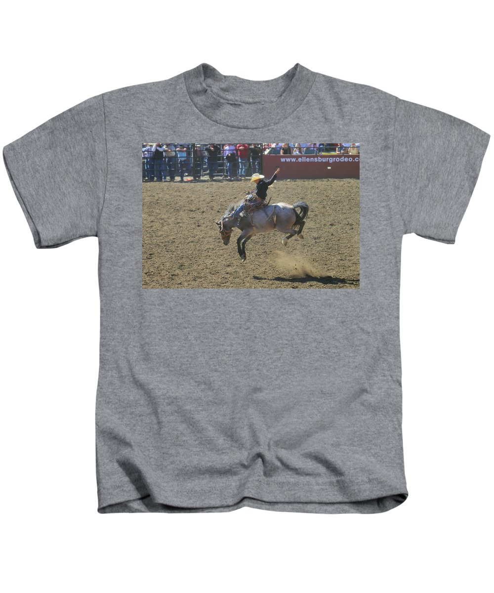 Competition Kids T-Shirt featuring the photograph Ride Em Cowboy by Jeff Swan