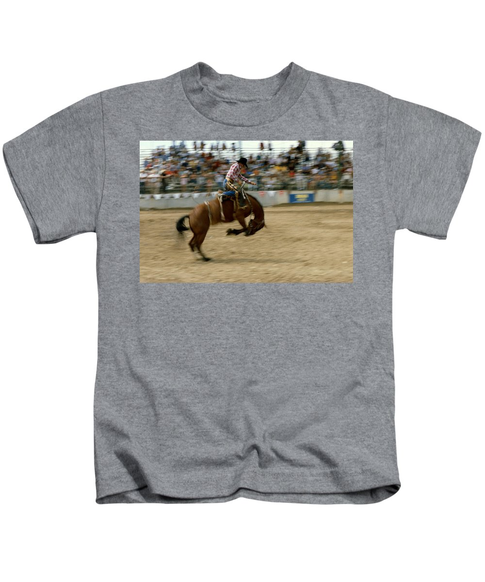 Rodeo Kids T-Shirt featuring the photograph Ridem Cowboy by Jerry McElroy