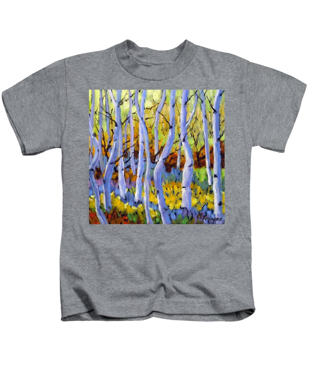 Art Kids T-Shirt featuring the painting Rigaudon Of Aspens by Richard T Pranke