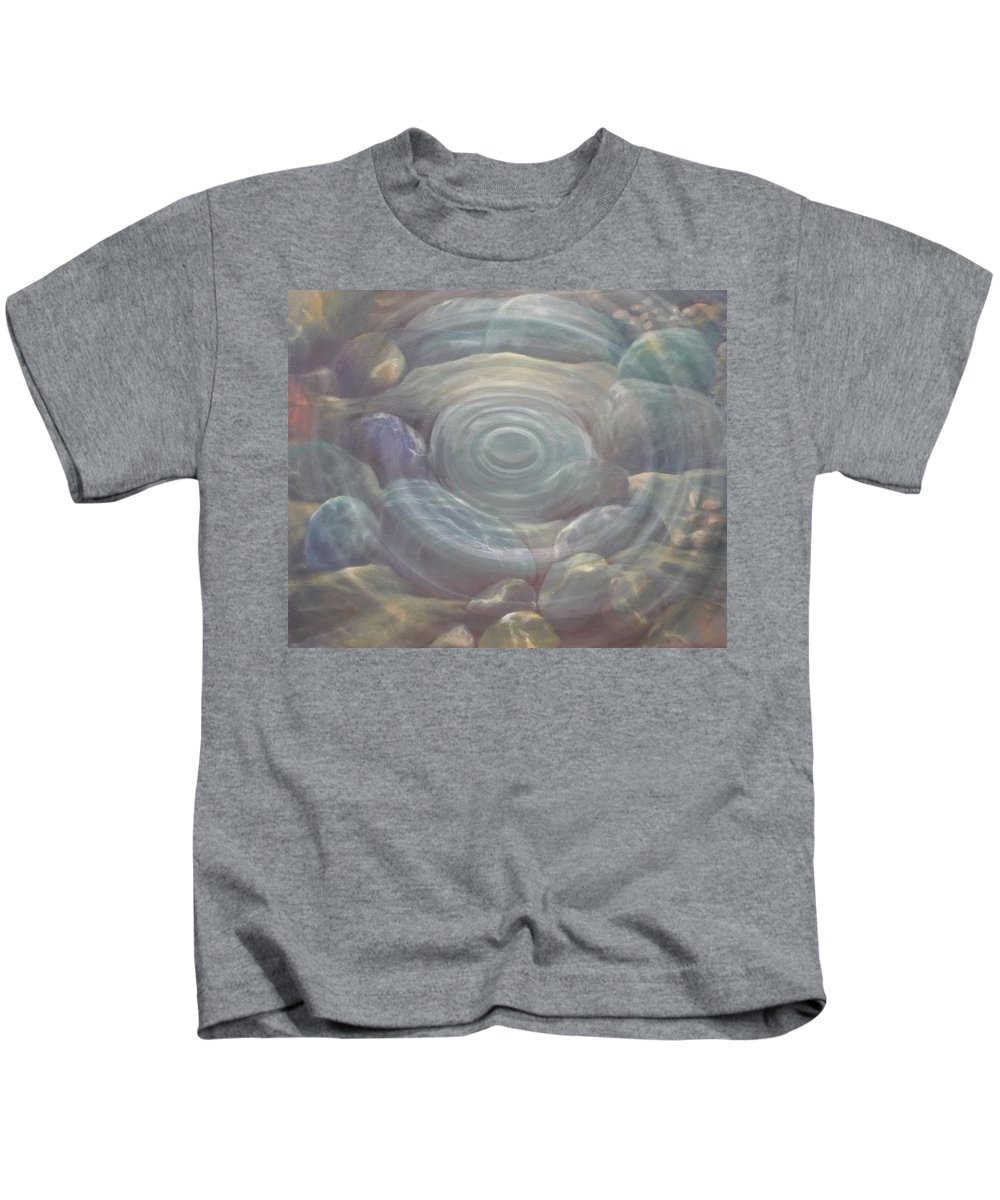Pebbles Kids T-Shirt featuring the painting Ripple by Caroline Philp