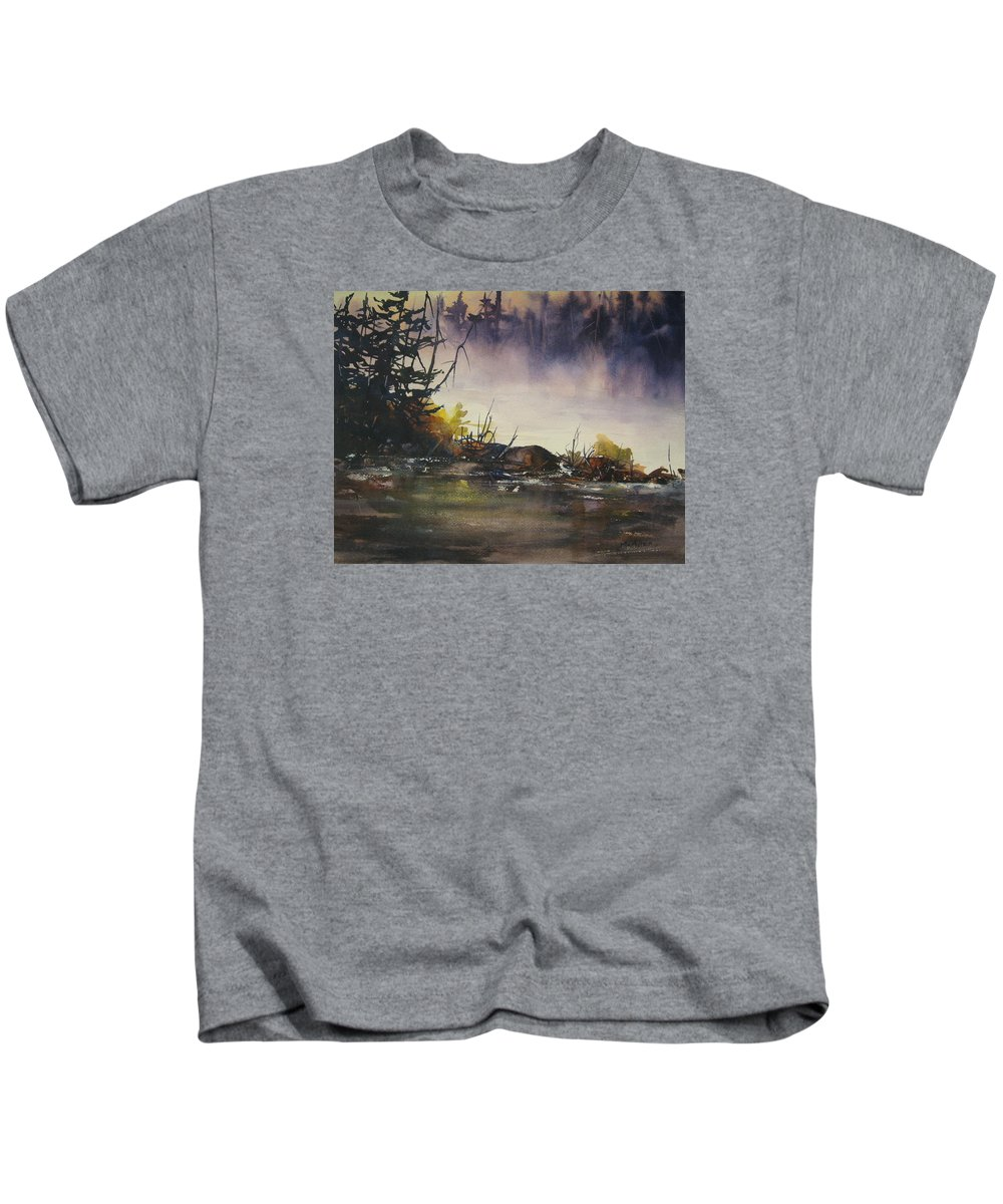 Lake Kids T-Shirt featuring the painting Rising Mist by Madelaine Alter