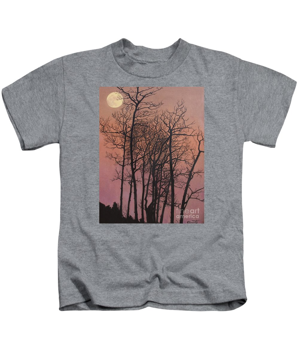 Moon Kids T-Shirt featuring the painting Rising Of The Moon by Barbara Barber