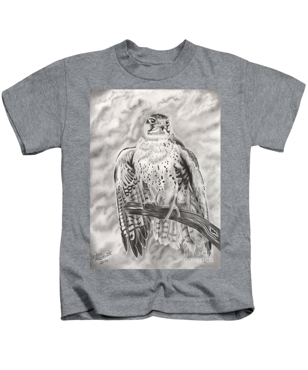 Falcon Kids T-Shirt featuring the drawing Rising Sun by Linda Reichert