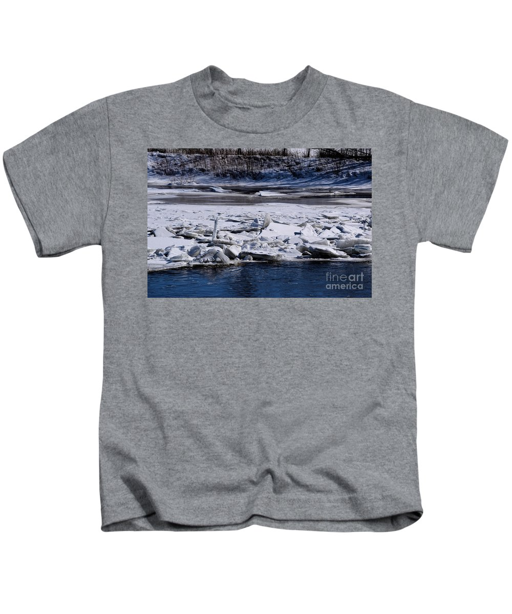 Ice Kids T-Shirt featuring the photograph River Ice by William Tasker