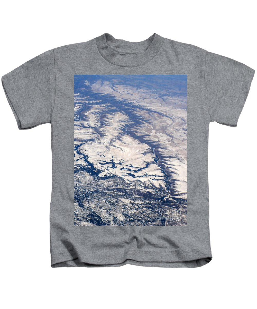 Aerial Kids T-Shirt featuring the photograph River Valley Aerial by Carol Groenen