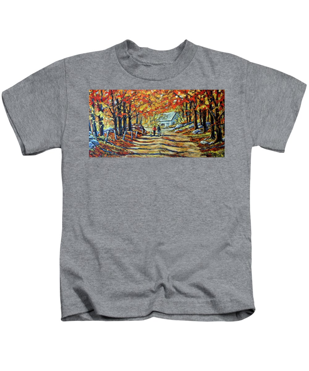 Art Kids T-Shirt featuring the painting Road Of Life Fine Art by Richard T Pranke