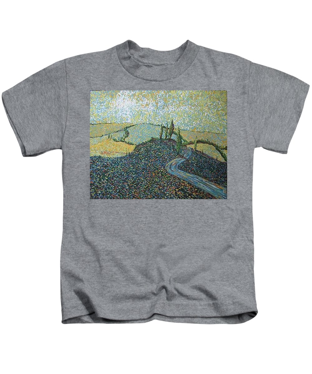 Landscape Kids T-Shirt featuring the painting Road To Tuscany by Stefan Duncan