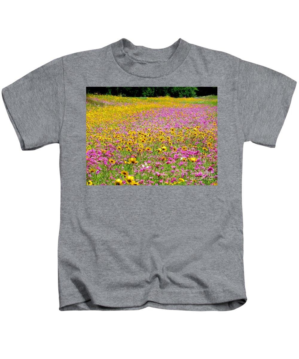 Roadside Kids T-Shirt featuring the pyrography Roadside Flower Garden by Tim Townsend