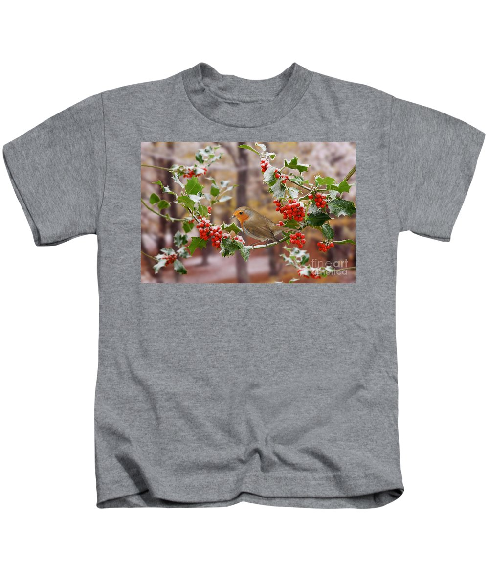 European Robin Kids T-Shirt featuring the photograph Robin On Holly Twigs by Warren Photographic