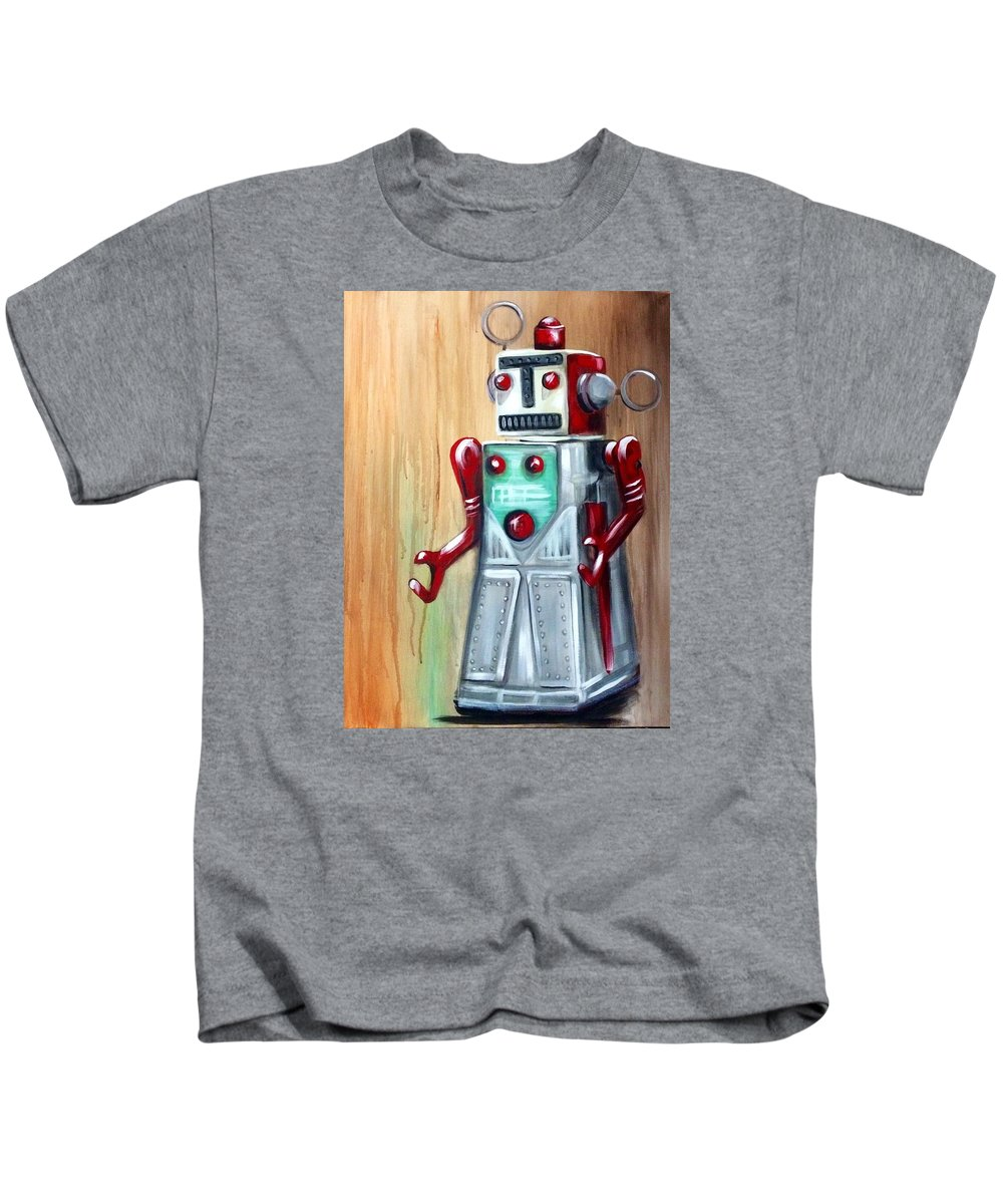 Robot Man Kids T-Shirt featuring the painting Robot Man by Rebecca Aguilar