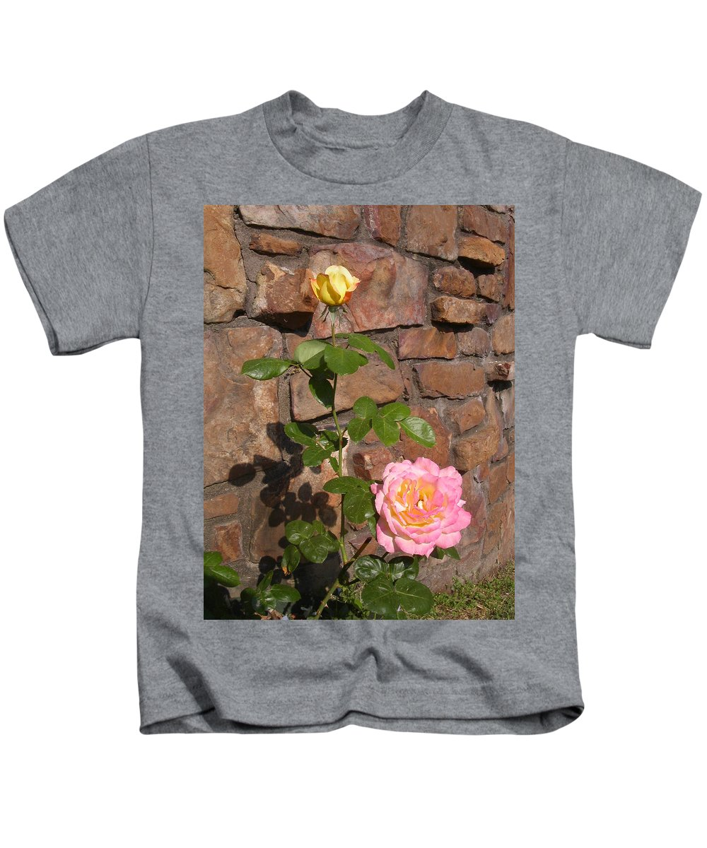 Rose Kids T-Shirt featuring the photograph Rock And Rose by Anne Cameron Cutri