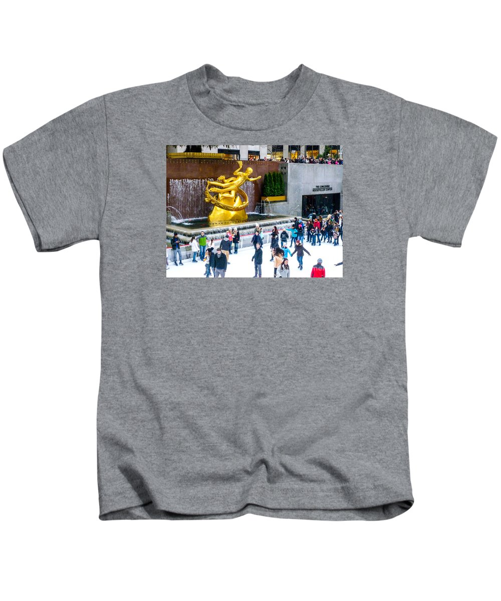 This Is A Photo Of Rockefeller Center Skating Rink In New York City During The Holidays. Kids T-Shirt featuring the photograph Rockefeller Center Skating Rink New York City by William Rogers