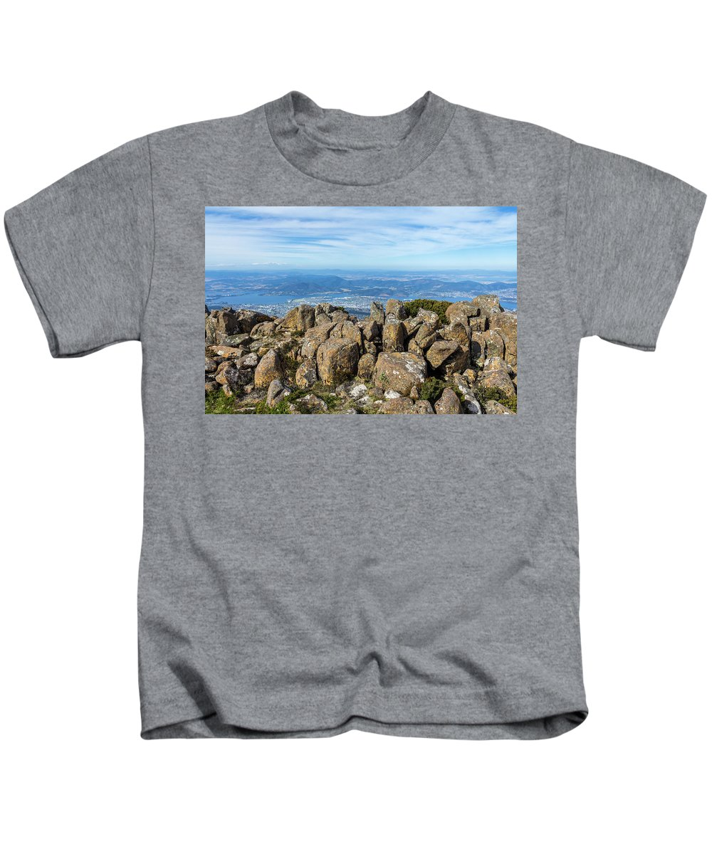 Australia Kids T-Shirt featuring the photograph Rocky Mountain Summit Overlooking Beautiful Vally by Andrew Balcombe