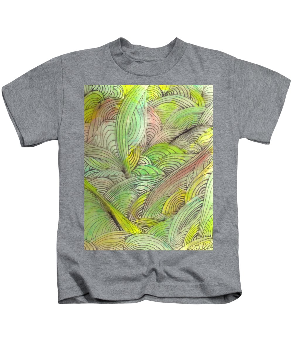 Abstract Kids T-Shirt featuring the painting Rolling Patterns In Greens by Wayne Potrafka