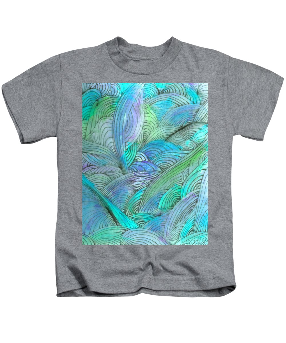 A Kids T-Shirt featuring the painting Rolling Patterns In Teal by Wayne Potrafka