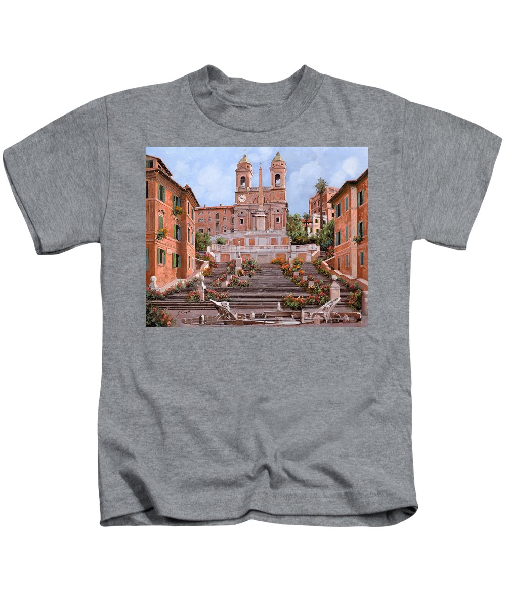 Rome Kids T-Shirt featuring the painting Rome-piazza Di Spagna by Guido Borelli