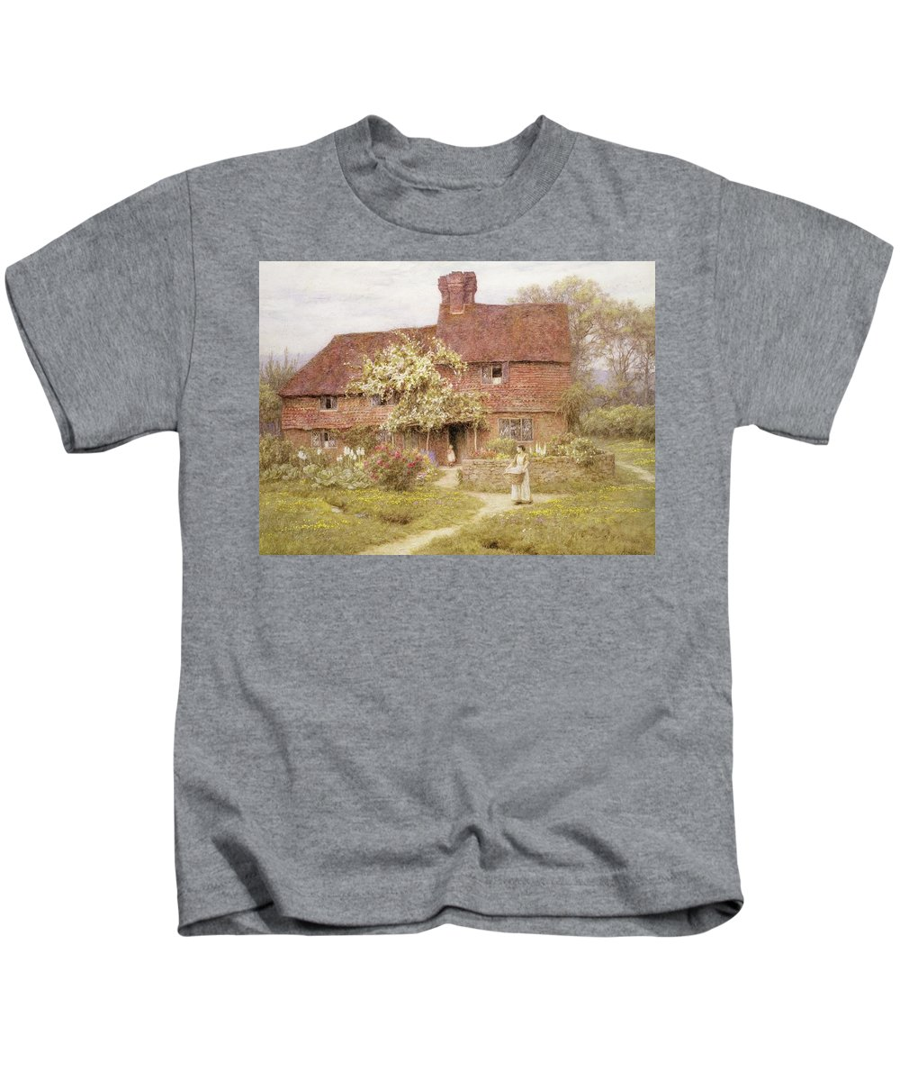 Rose Cottage Kids T-Shirt featuring the painting Rose Cottage by Helen Allingham