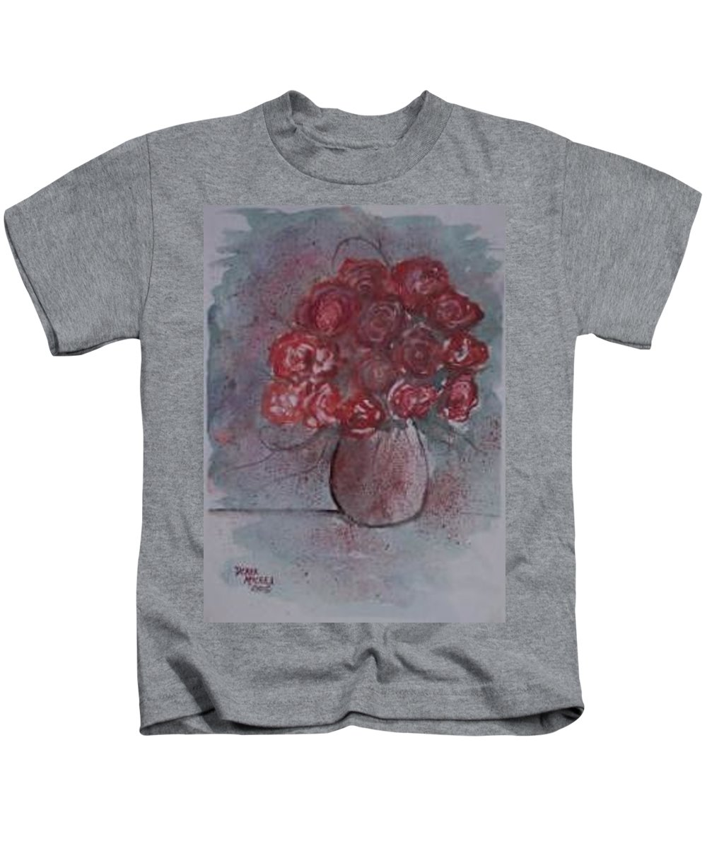 Watercolor Kids T-Shirt featuring the painting ROSES still life watercolor floral painting poster print by Derek Mccrea