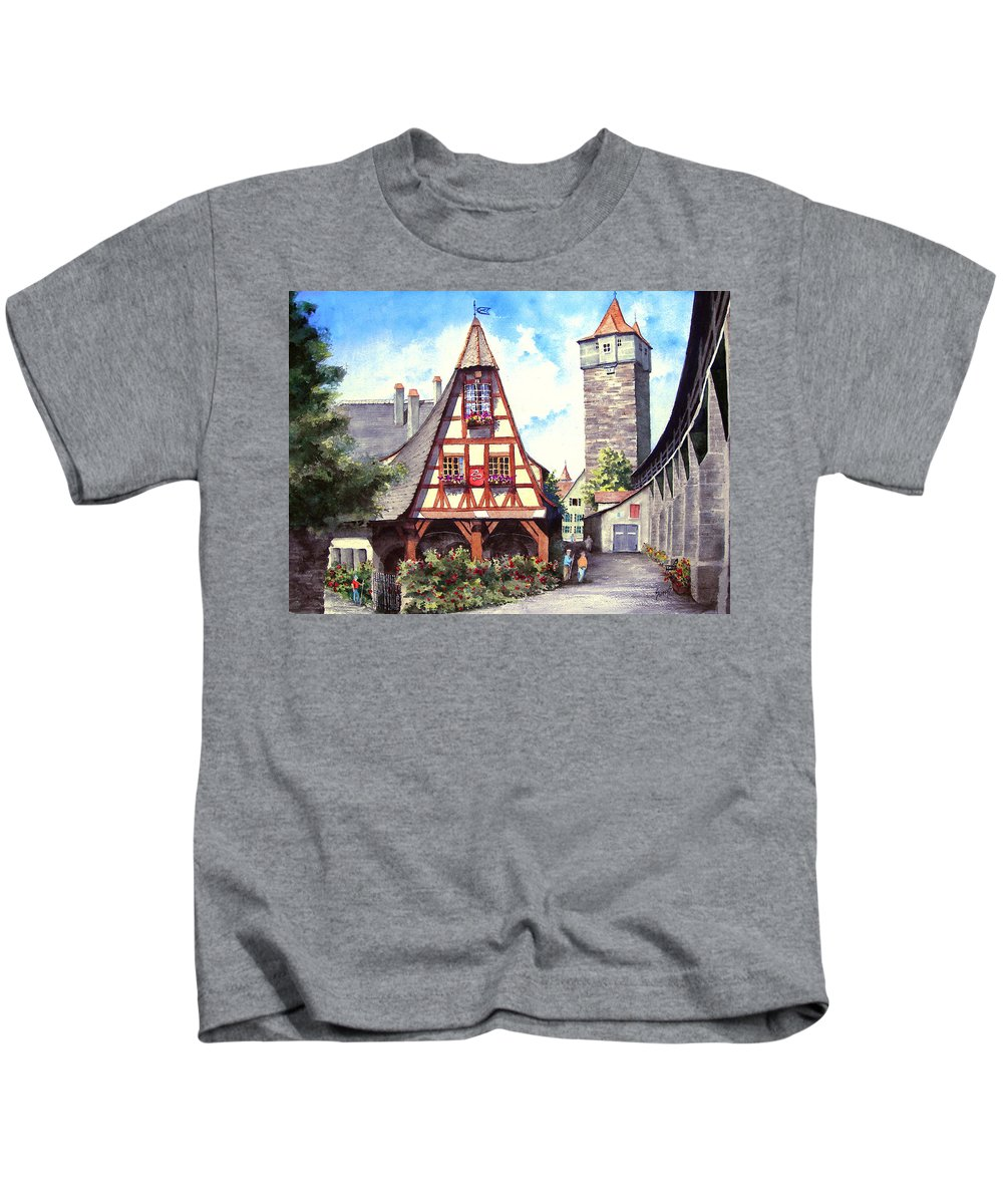 Germany Kids T-Shirt featuring the painting Rothenburg Memories by Sam Sidders