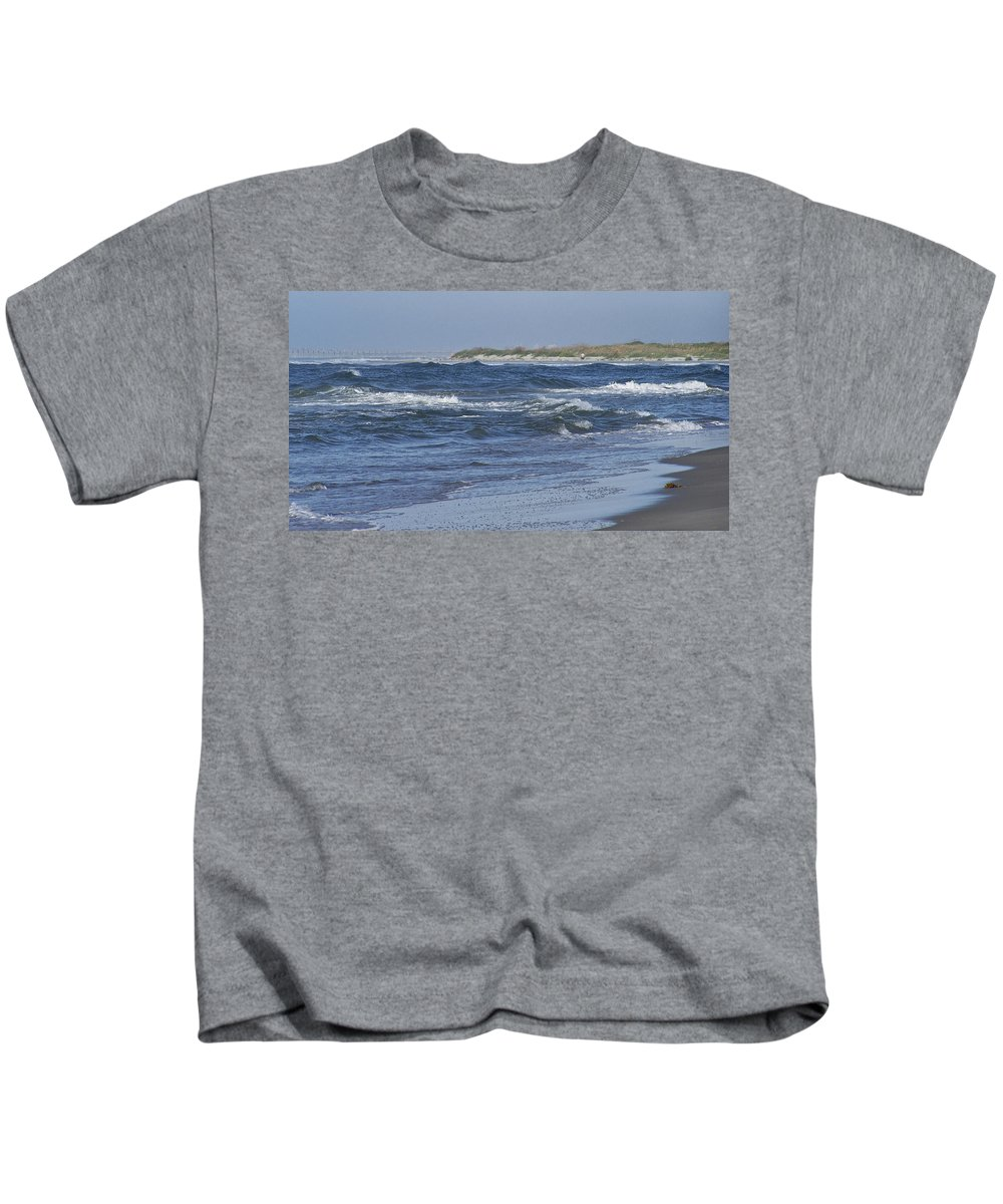 Ocean Kids T-Shirt featuring the photograph Rough Day At The Beach by Teresa Mucha