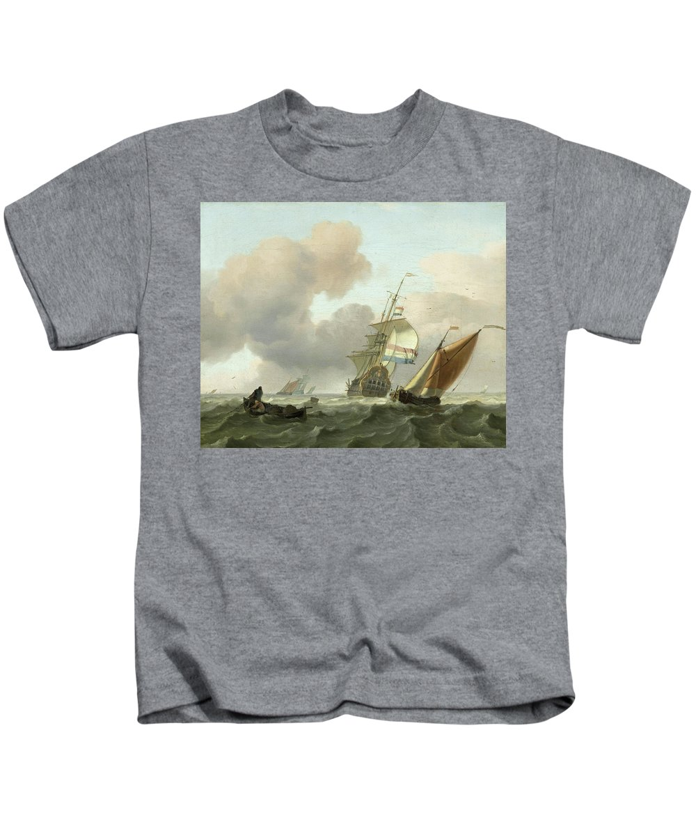 Ships Kids T-Shirt featuring the painting Rough Sea With Ships by Ludolf Bakhuysen