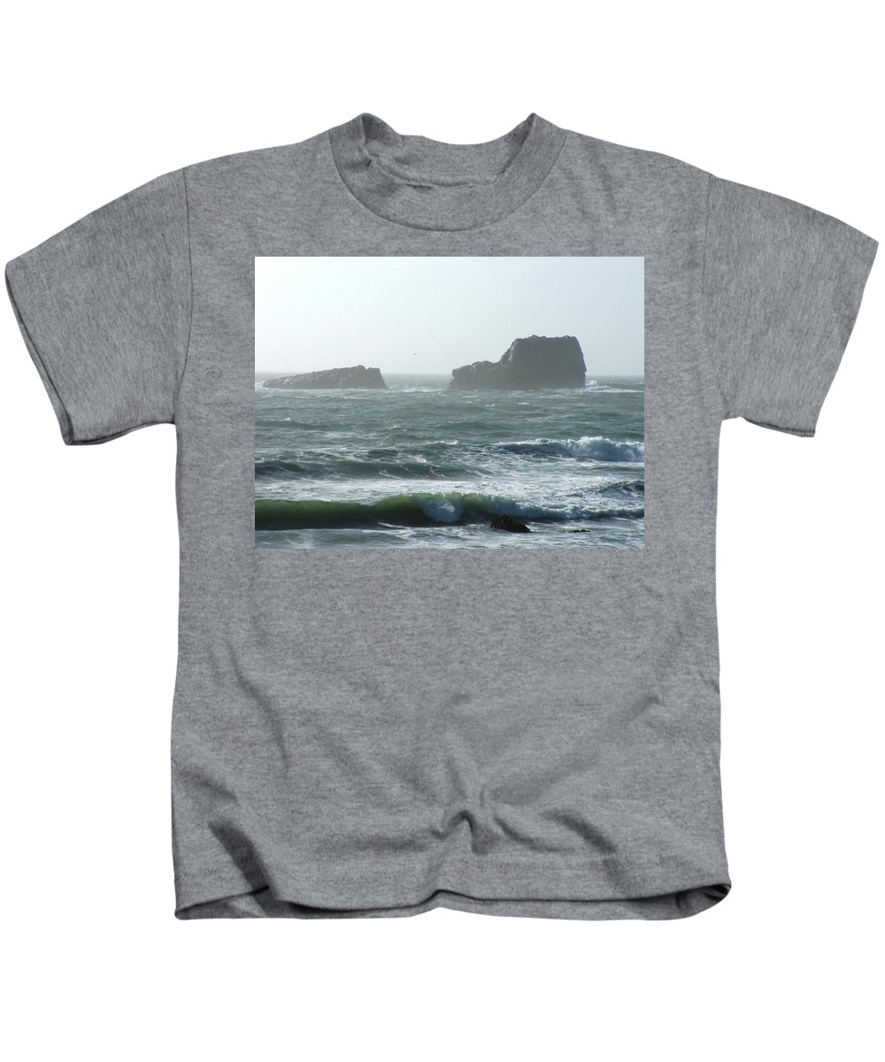 Oceanes Kids T-Shirt featuring the photograph Rough Waters by Shari Chavira