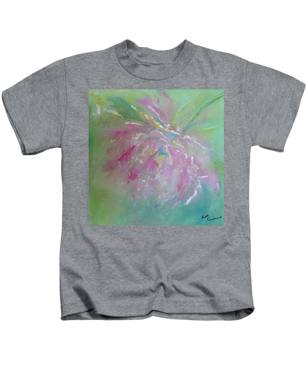 Peony Kids T-Shirt featuring the painting Ruby Red Peony by Ruth Kamenev