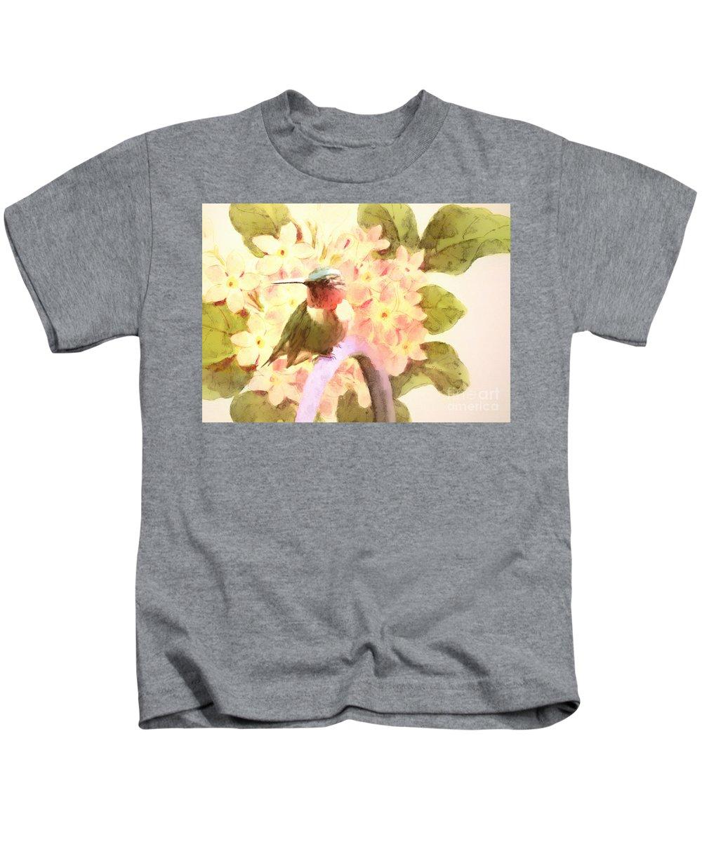 Hummingbird Kids T-Shirt featuring the photograph Ruby Throated Hummingbird by Tina LeCour