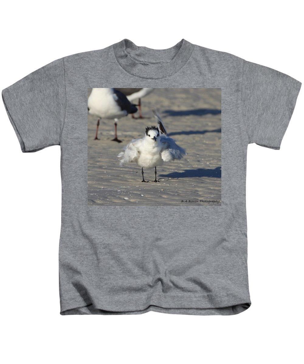 Gull Tern Kids T-Shirt featuring the photograph Ruffled Feathers by Barbara Bowen