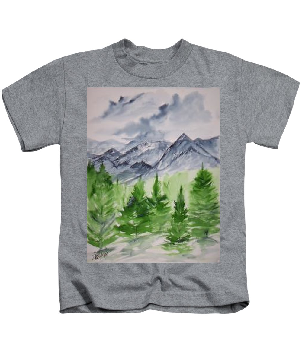 Plein Air Kids T-Shirt featuring the painting Ruidoso NM southwestern mountain landscape watercolor painting poster print by Derek Mccrea