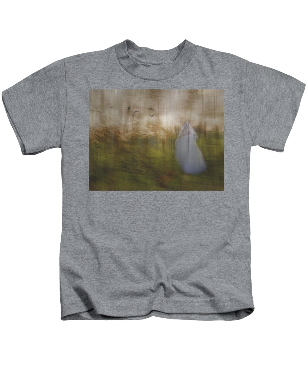 Woods Kids T-Shirt featuring the photograph Runaway Bride by Elaine Els