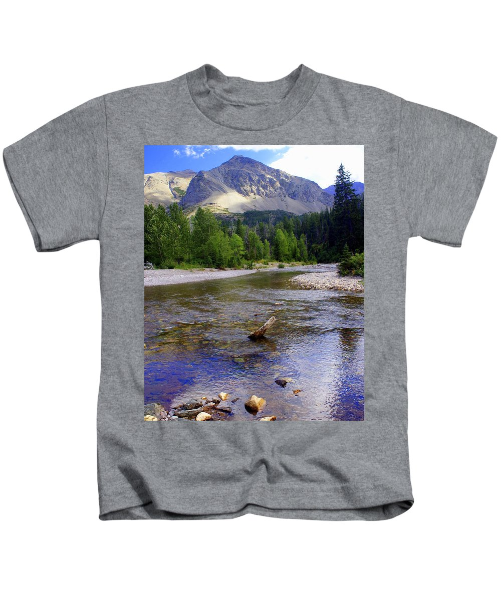 Stream Glacier National Park Kids T-Shirt featuring the photograph Running Eagle Creek Glacier National Park by Marty Koch