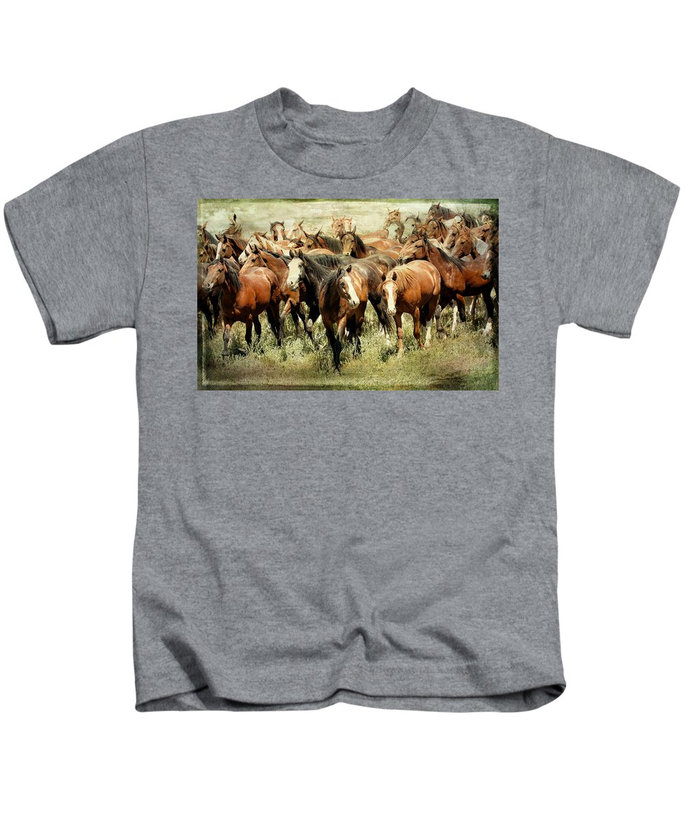 Horses Kids T-Shirt featuring the photograph Running Free Horses IIi by Athena Mckinzie